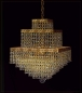 Preview: Oriental cube gold chandelier with ornamentation and 4 illuminates.