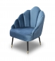 Preview: Vintage Retro Sessel Samt Blau
