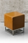Preview: Cube leather stool tan brown