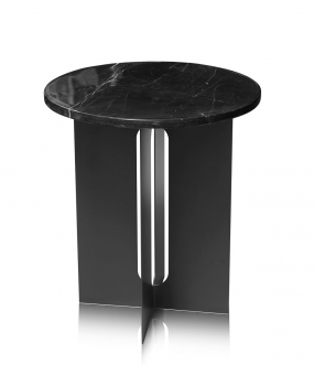Small Black coffee bed side table with black marble on top.