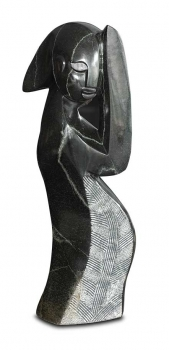 "Shona Art stone sculpture ""Welcome"" handmade in solid black springstone. Height 50 cm."