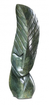 "Amazing Shona Art stone sculpture ""Tree of Life"" handmade in green Serpentine stone. H 88 cm, 32 kg."