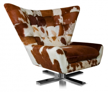 Cow skin swivel arm chair made with real fur. Illustration in cow skin brown-white.