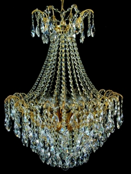 Real lead crystal chandelier with 32 arms and 6 illuminates.