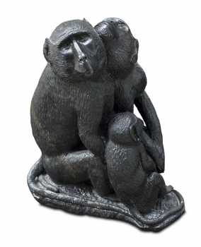 "Shona Art garden stone sculpture ""Baboon Monkey Family"" handmade in solid Springstone. 34 kg"