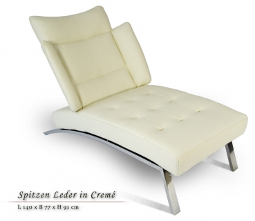 Leather chaiselongue / genuine leather day bed with stainless steel legs. Illustration leather creme beige.