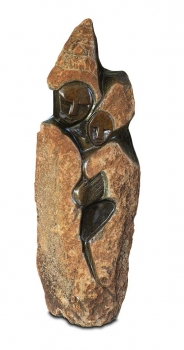 "Red Stone Shona Art stone sculpture ""Welcome"" handmade in Springstone. H. 59 cm"