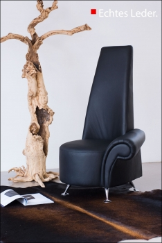Highback leather single armrest chair. Height 120 cm.