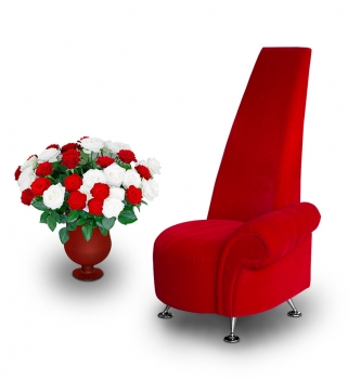 Highback red velvet chair with one armrest. Height 121 cm.