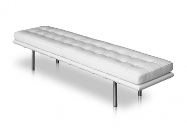 Long leather bench with stainless steel legs - White leather with solid white wood frame.