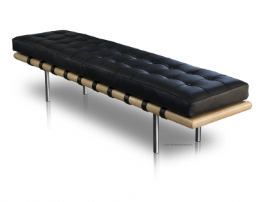 Long leather bench with black wooden frame and brushed stainless steel legs (Length 198 cm).