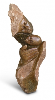 "Amazing Shona Art sculpture ""My love will protect you"" handmade in brown serpentine. Height 70 cm"
