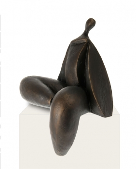 Amazing modern female act sculpture statuette in antique copper color.