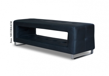 Thin storage leather bench. Illustration in real leather black.