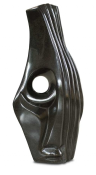 "Shona Art stone sculpture ""See you"" handmade in solid black springstone. Height 51 cm."