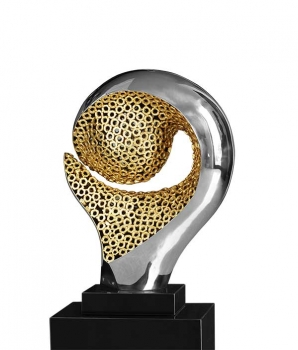Abstract modern metal sculpture with marble pedestal. Polished steel with golden Inlay.