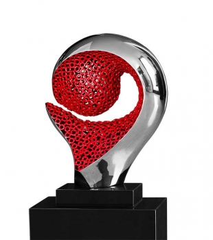 Abstract modern metal sculpture with marble pedestal. Illustration in red and polihed steel.