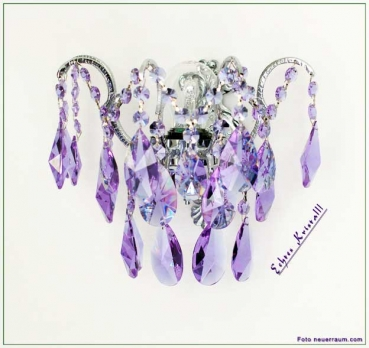 Amazing wall light with real colored crystals in green or lilac - the frame is in silver or gold available.