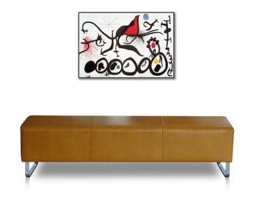 Long leather bench with stainless steel legs. Illustration in leather tan.