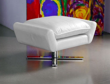 Leather footstool ottoman with solid steel legs. Illustration in leather white.
