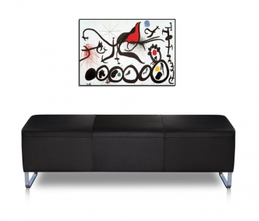 Long leather bench with stainless steel legs. Illustration in leather black.