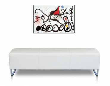 Long leather bench with stainless steel legs. Illustration in leather white.