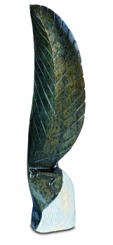 "Amazing Shona Art stone sculpture ""Leaf Head"" handmade in green Serpentine stone. H 75 cm."