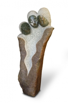 "Huge Shona Art stone sculpture ""Best friend"" handmade in solid Opal stone. H 87 cm, 70 kg."