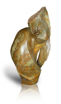 "Abstractly Shona Art stone sculpture ""Remember"" handmade in fruit Serpentine stone."