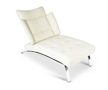 Leather chaiselongue / genuine leather day bed with stainless steel legs * 5 leather colours available.