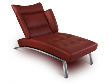 Leather chaiselongue, genuine leather day bed with stainless steel legs. Illustration in leather wine red / bordeaux.