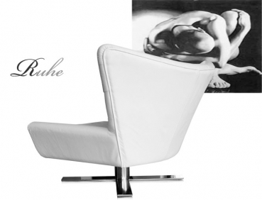 Wing leather armrest swivel chair V-Shape with polished steel legs. Illustration white leather.