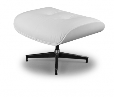 BAUHAUS OTTOMAN FOOTSTOOL LEATHER POUFFEE WHITE LEATHER & BLACK OAK - Kopie