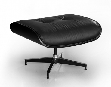 BAUHAUS OTTOMAN FOOTSTOOL LEATHER POUFFEE BLACK LEATHER & BLACK OAK