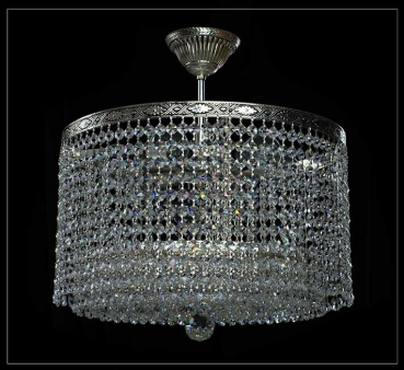 Round shape crystal chandelier with 6 lights and 41 cm diameter antique silver.