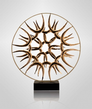 Circular modern Art sculpture made in solid plated steel. Pedestal black marble. Illustration red gold.