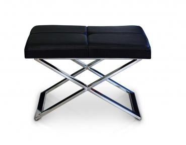 Polished stainless steel bauhaus ottoman with real black leather.