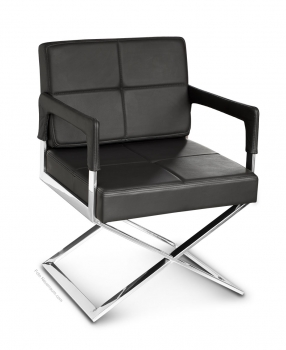Leather dining / conference armchair polished steel frame. Illustration real leather black,