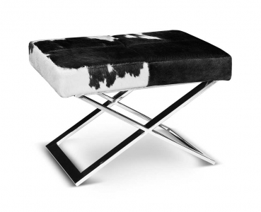 Cow skin leather stool with polished steel base. Real fur black white.