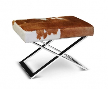 Cow skin leather stool with polished steel base. Real fur.