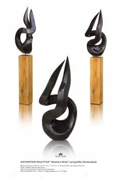 "Abstract stone sculpture ""Birds"" hand carved from one pieces of Springstone on oak column. Height 180 cm."