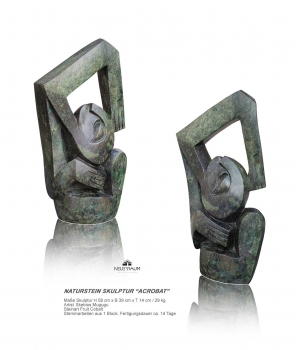 Abstract Acrobat stone sculpture hand carved from one pieces of Fruit Cobalt stone. Height 58 cm. 29 kg.