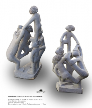 Acrobatic artist stone sculpture hand carved from one pieces of Serpentinstone. Height 88 cm. 60 kg