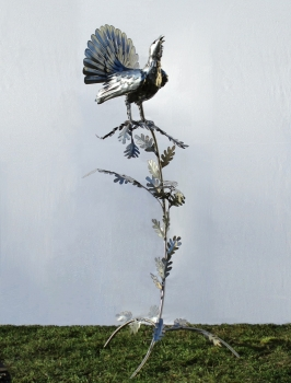 Capercaillie in tree garden sculpture handmade in stainless steel. H 160 cm.