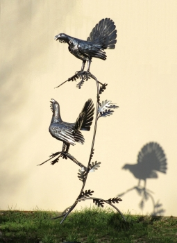 2 Capercaillie in tree stainless steel garden sculpture handmade. H 201 cm.