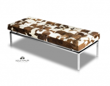 Cow skin seating bench. Illustration real cow skin brown-white. L160 cm.