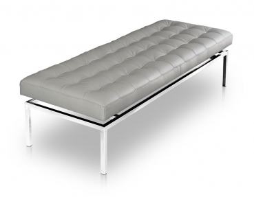Long Bauhaus leather seating bench, length 160 cm. Illustration real leather grey.