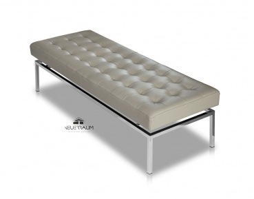 Bauhaus leather bench taupe grey, length 109 cm seat height 44 cm.