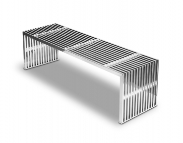 Steel seating bench with transparent acrylic distance pieces. Length 140 cm, Weight 25 kg.