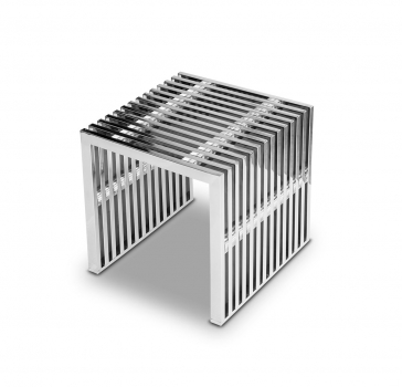 Stainless steel ottoman seat cube with transparent acryl glass distance pieces. 15 kg.